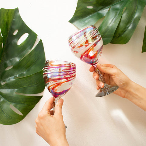 Tall Handblown Wine Glass - Tropical Swirl