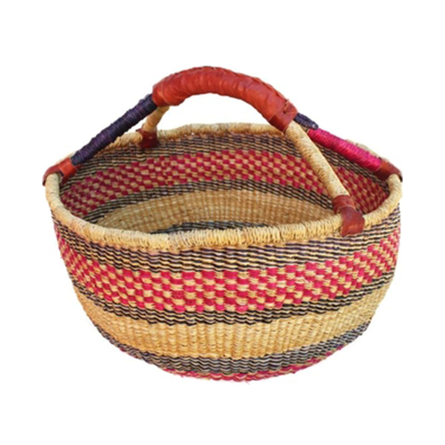 Handwoven African Market Basket - Assorted Red