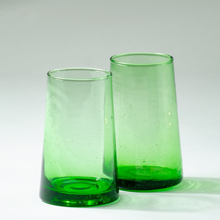 Tall Flared Drinking Glass - Green