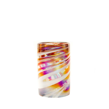 Tall Handblown Water Glass - Tropical Swirl