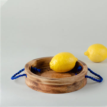 Wood Carved Circular Tray with Handles