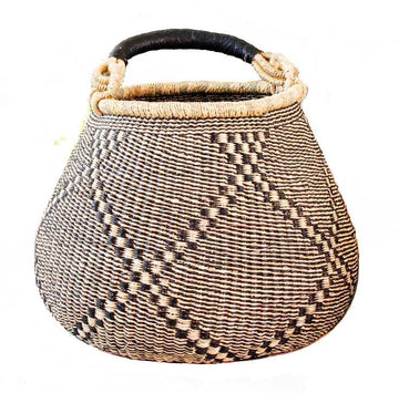 Handwoven Teardrop African Market Basket - Assorted Natural
