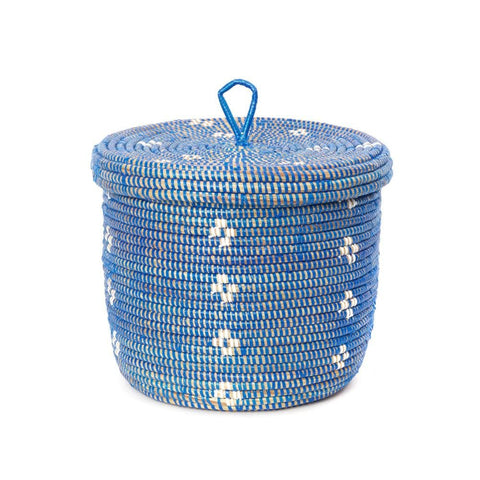 Lidded Storage Basket - Blue and White Blossom