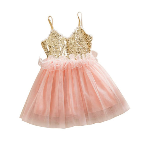 Newest Princess Girls Kids Baby Sequins Wedding Tulle Tutu Dress Sundress Toddler Girls Dresses