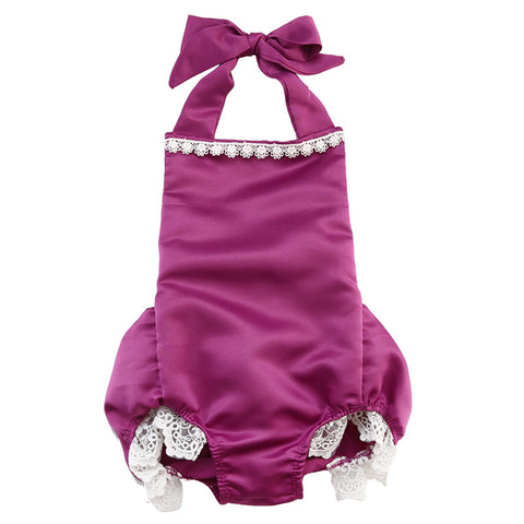 Cute Baby Princess Girls Lace Splice Halter Romper Backless Jumpsuit Outfits Big Bow decoration Sunsuit