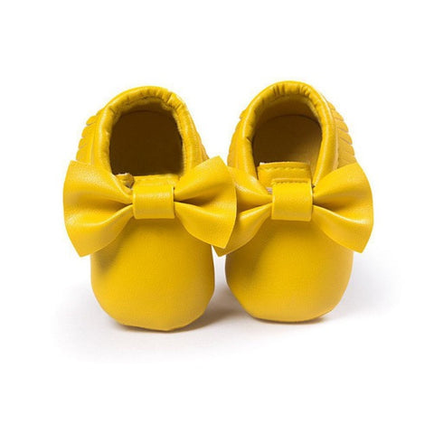2017 Unisex Toddlers Baby Shoes Soft Soled Tassel PU Leather Crib Shoes Prewalker Bow Shoe First Walkers Without Logo