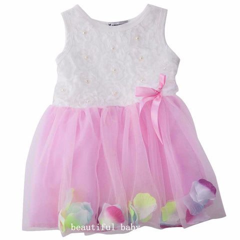 2017 Baby Summer Dress Cotton Kids Clothes Infant Petals Hem Tutu Dress Chiffon Newborn Baby Girls Dress Floral Princess Dresses