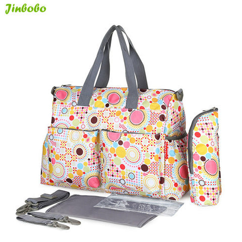 5 PCS/SET 2016 Baby Nappy Bags Diaper Bag Mother Shoulder Bag Fashion Maternity Mummy Handbag Waterproof Baby Stroller Bag NEW