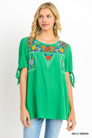 Embroidered 3/4 Tie Sleeve Top