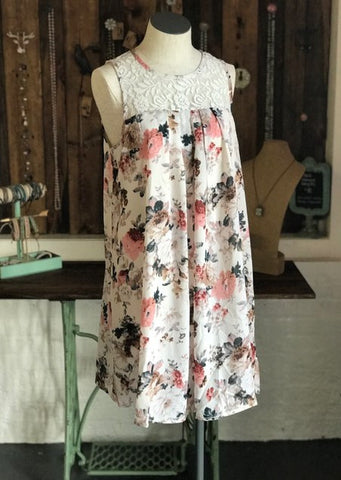 Floral A-Line Dress with Lace Yoke
