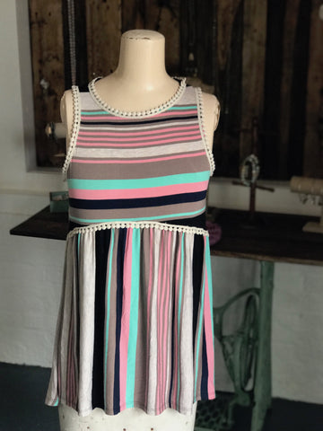 Babydoll Striped Multicolored Top