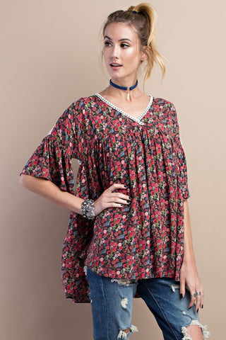 Floral V-Neck Babydoll with Crochet Back
