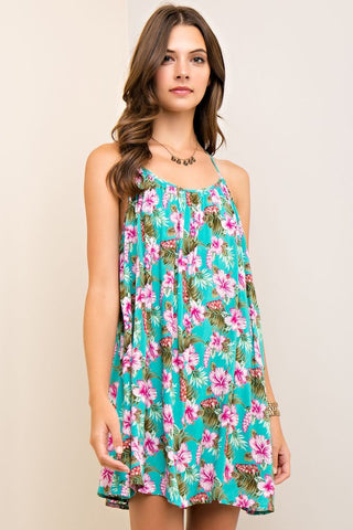 Floral Halter Dress with Crochet Back
