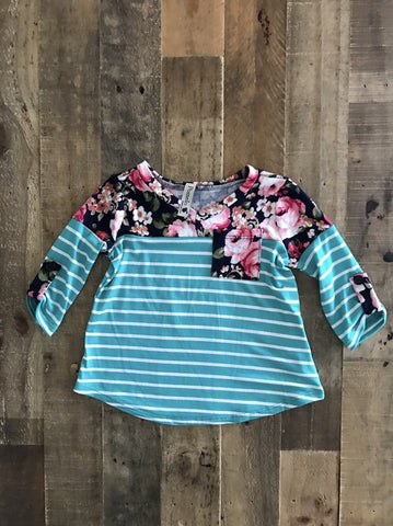Floral Stripe Toddler Top