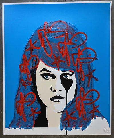 Jane Fonda - Bad Hair Day<br>Unique 1/1 handfinished screenprint