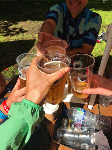 Beers at the finishline of Ride London with team Le Col