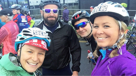 Startline selfies for Team Le Col at Ride London