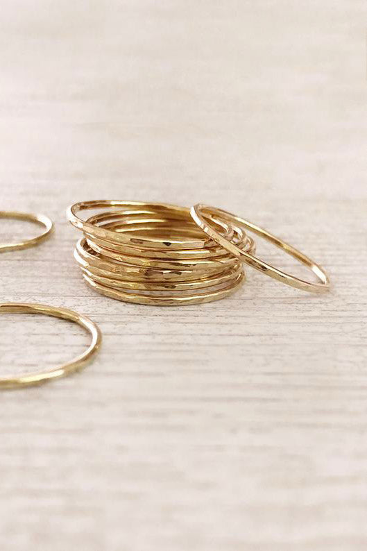 14k Hammered Stacking Ring