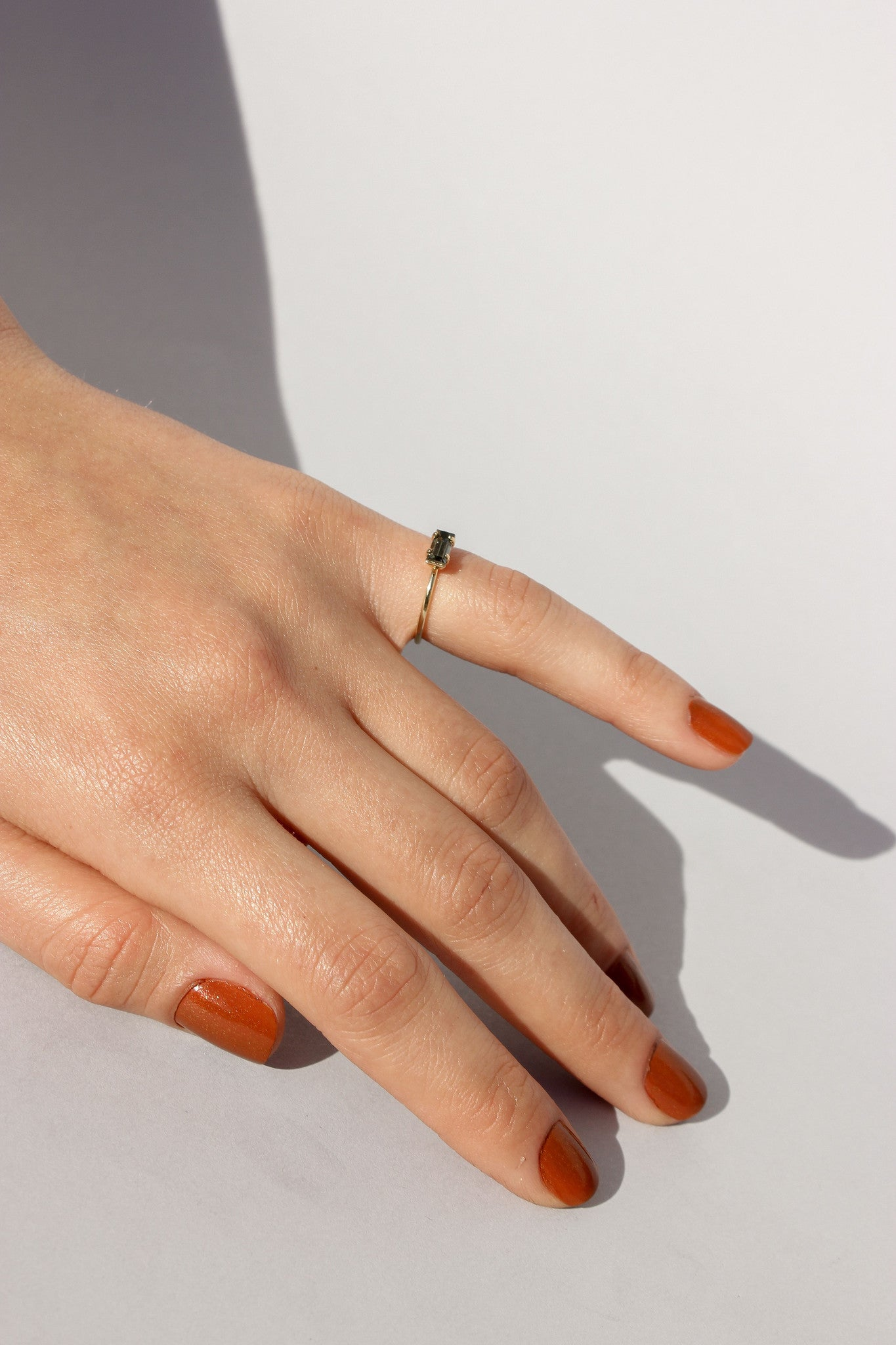 Tiny Smoky Baguette Ring