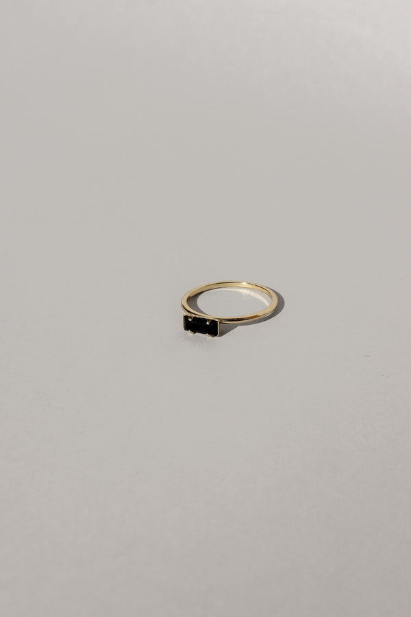 Tiny Black Baguette Ring