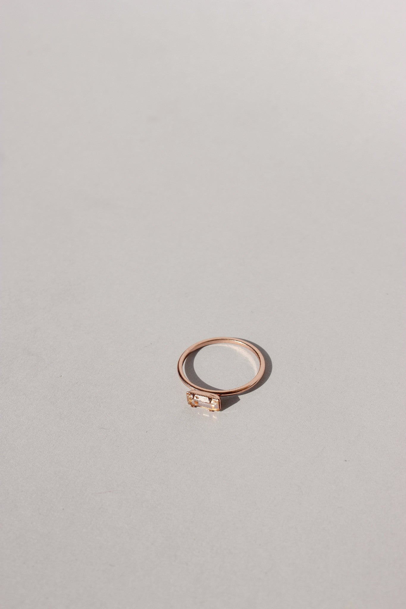 Tiny Peach Baguette Ring