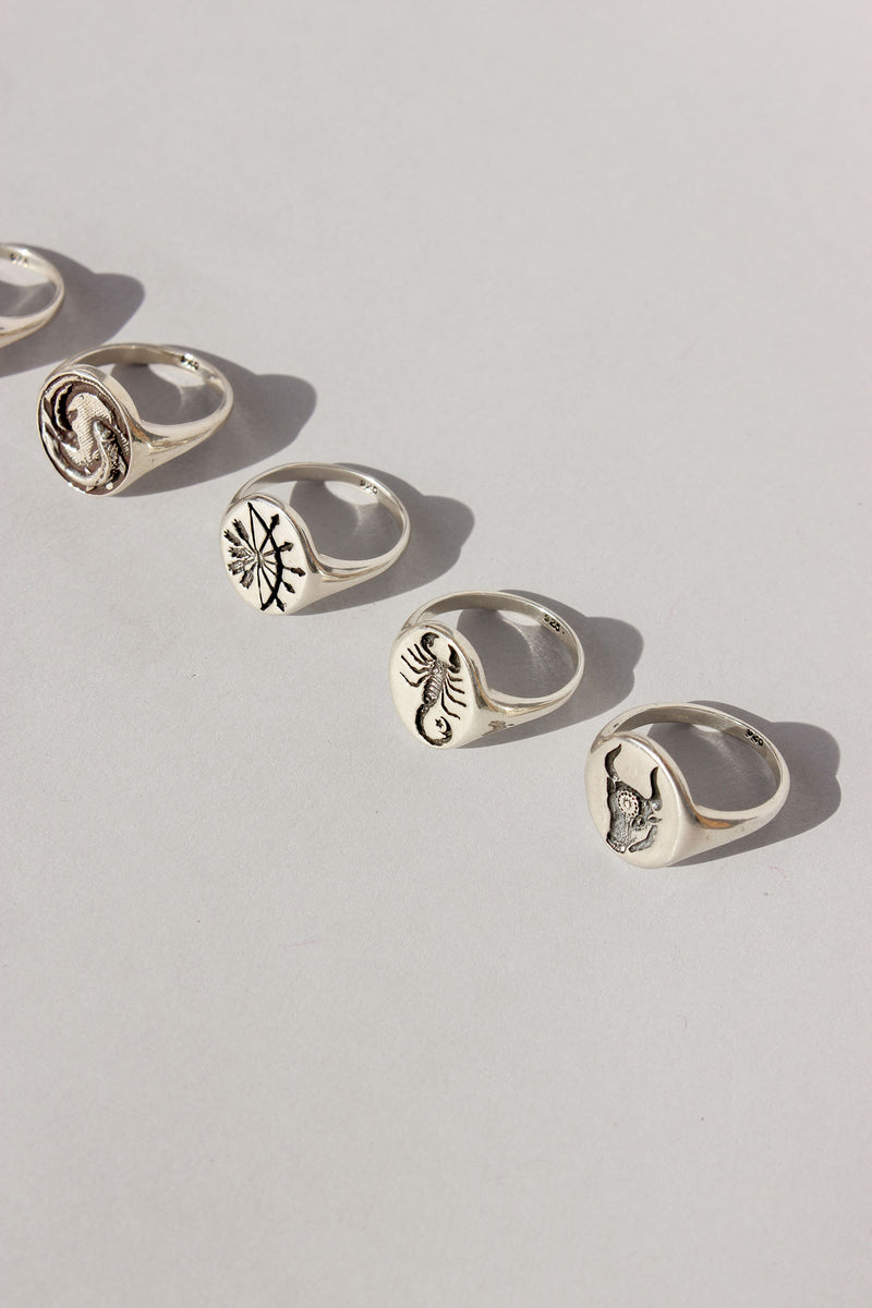 Zodiac Signet Ring in Sterling Silver