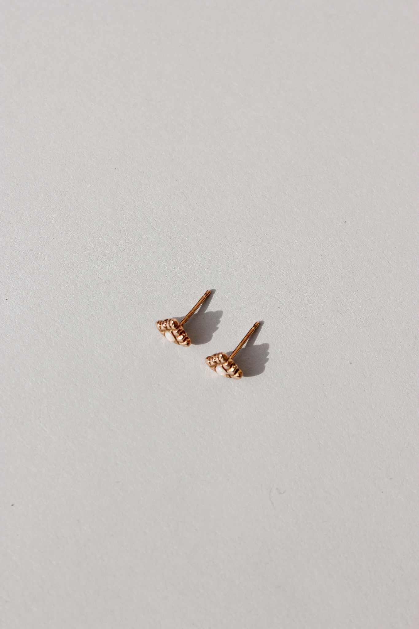Small Spirit Studs in 14k Rose Gold + Opals