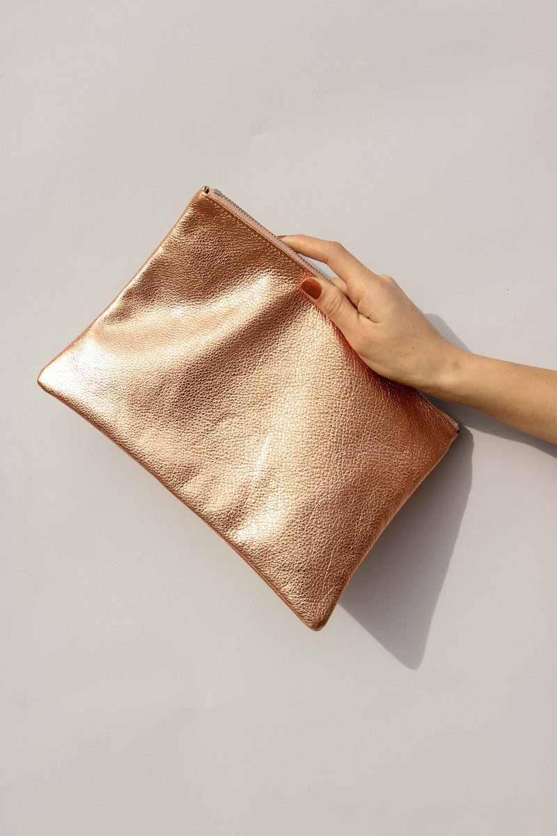 Medium Flat Pouch in Copper