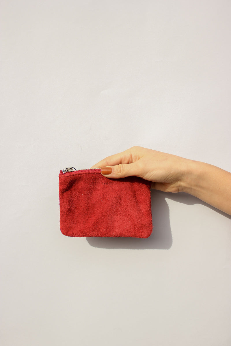 Small Flat Pouch in Ruby