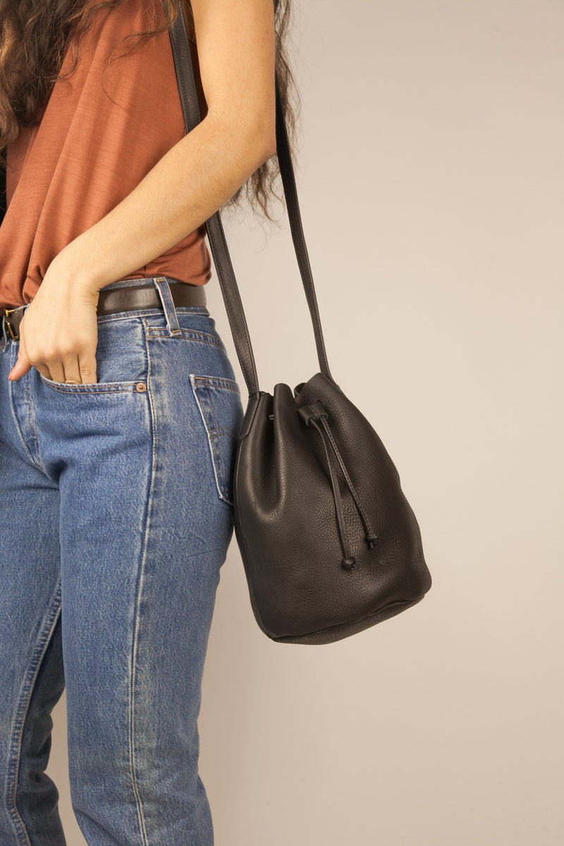 Leather Drawstring Bucket Bag in Black