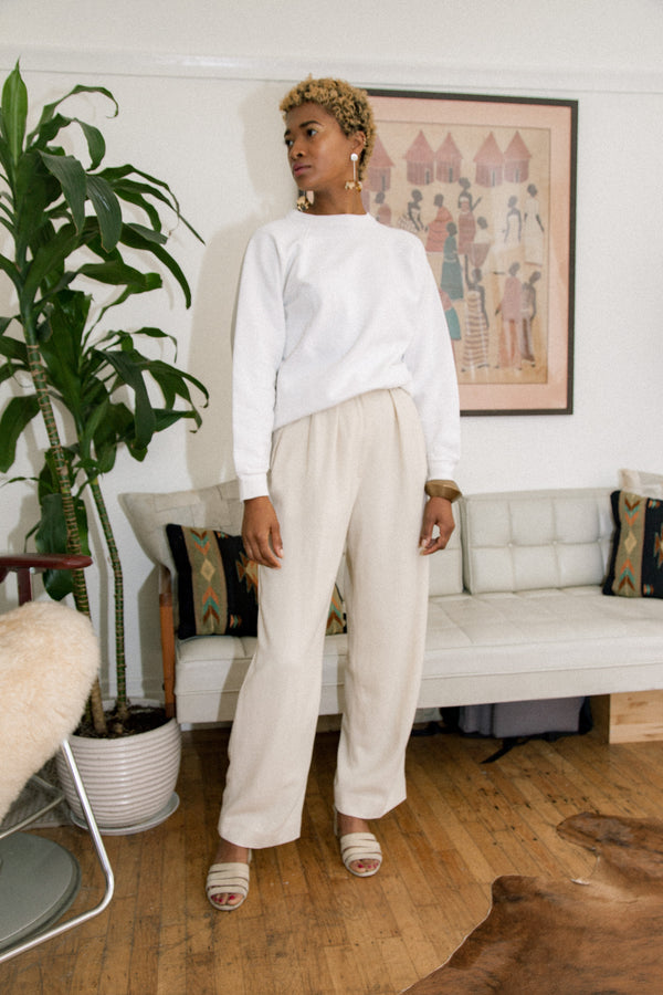 Vintage Creamy Wool Trousers