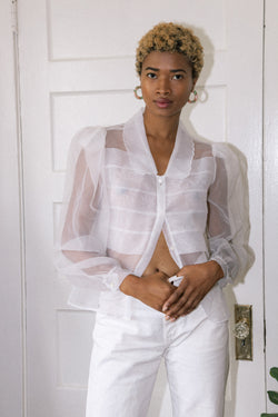 Vintage Organdy Puff Sleeve Blouse