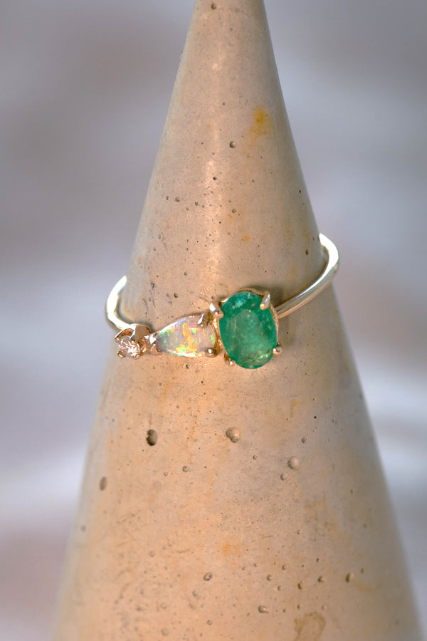 14k Emerald Opal Diamond Ring