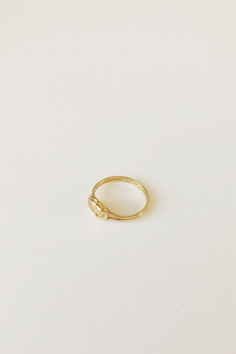 Little Cat Signet Ring in 14k Gold