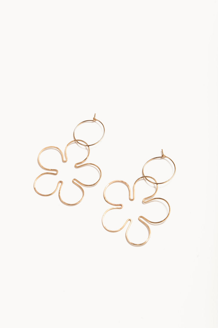 Daisy Hoops in Gold