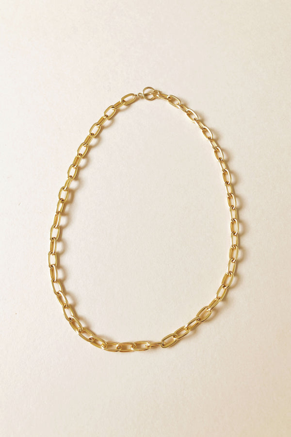 Heavy Gold Chain Necklace with Bar Clasp.  Gold plate over brass.  Cable chain link.
