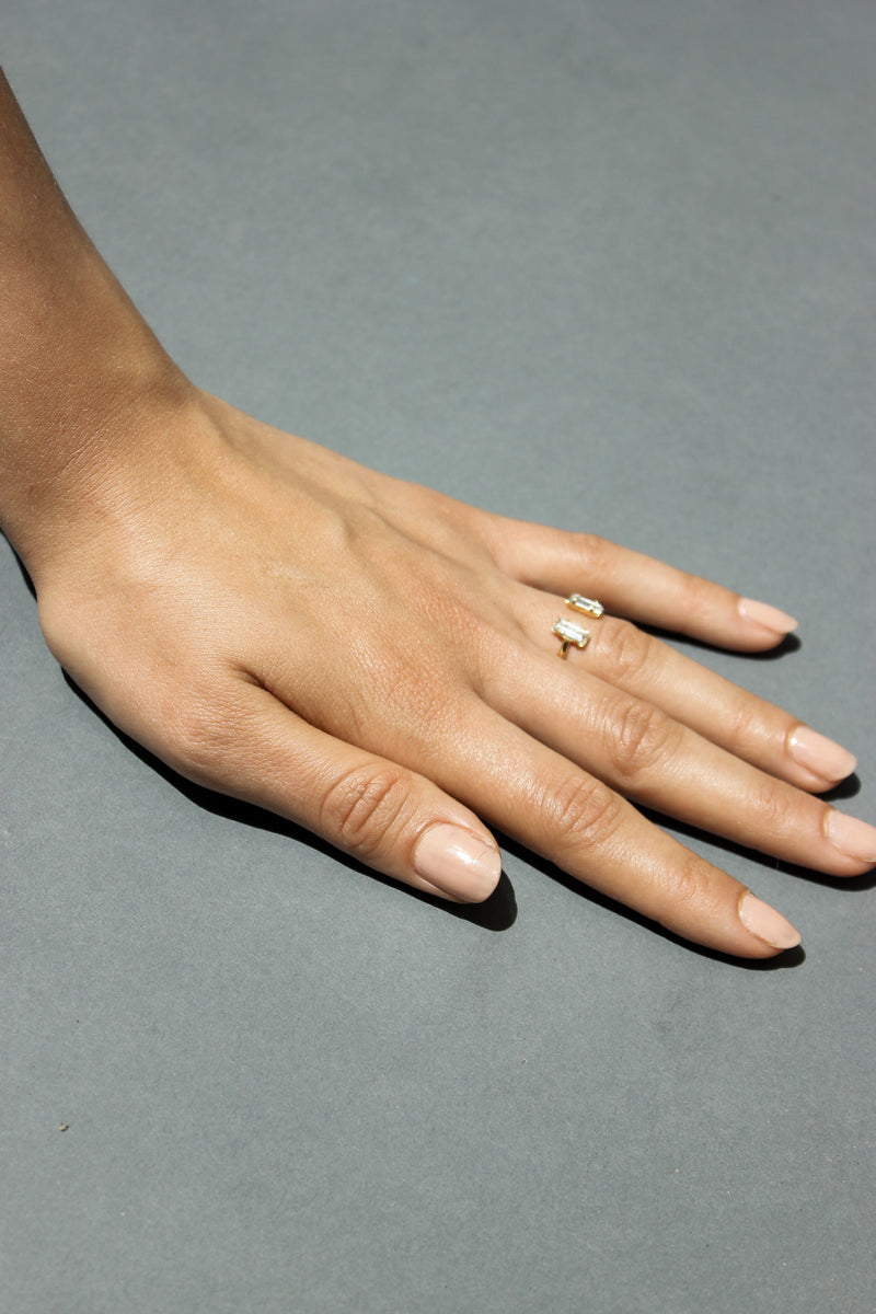 Clear Double Baguette Ring