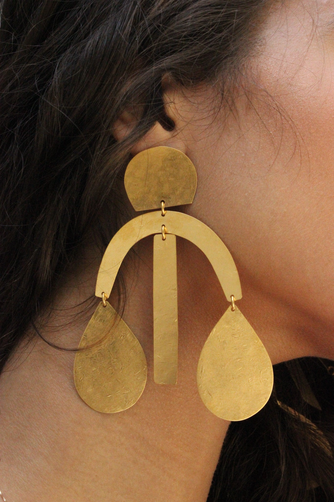 Arc Drop Earrings in Brass