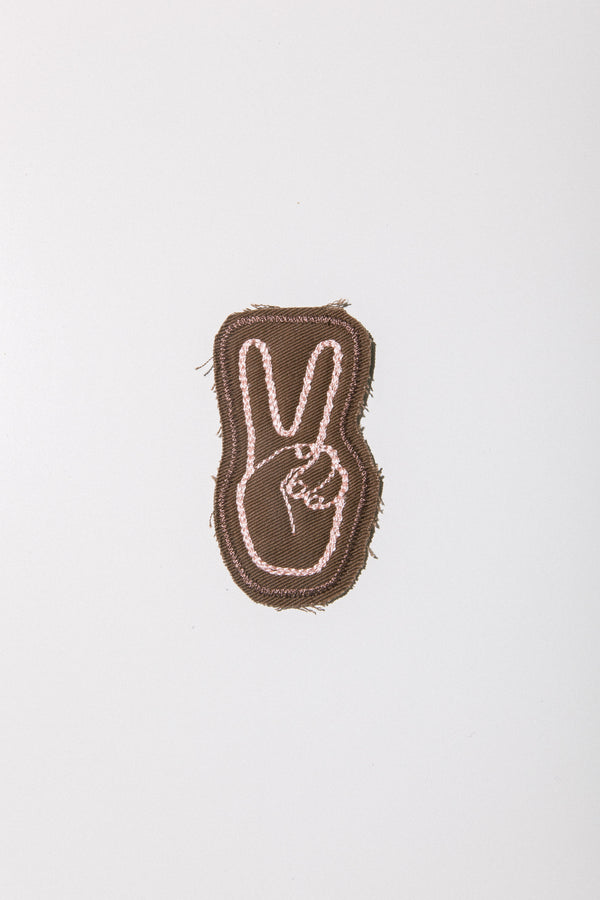 Peace Stitched Patch Brown