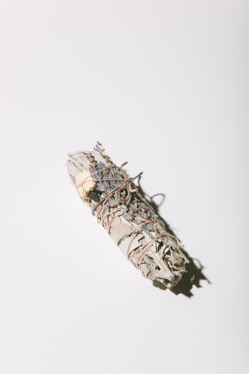 Small Lavender Rose Smudge Stick
