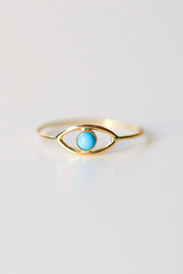 Evil Eye Ring in 14k Gold + Turquoise