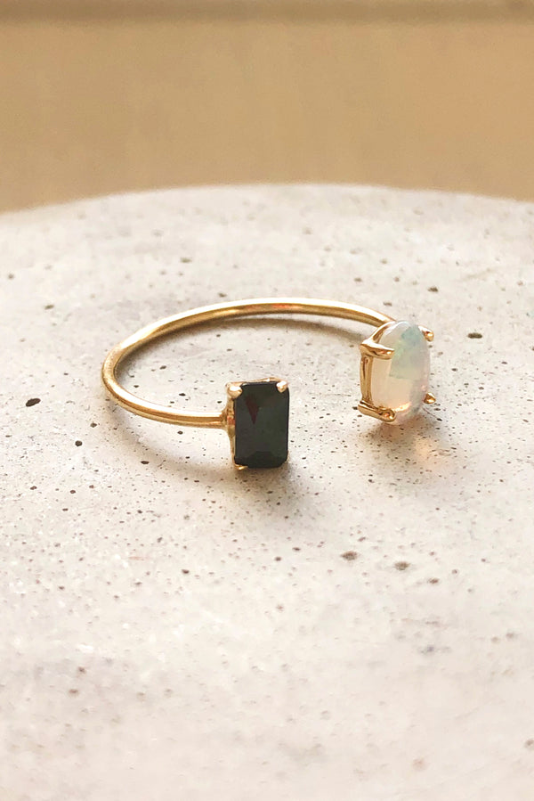 Opal Onyx Crush Ring