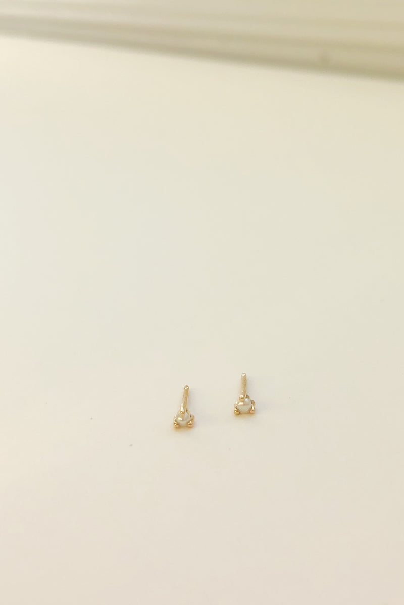 Tiny Neptune Pearl Studs - 14k Gold