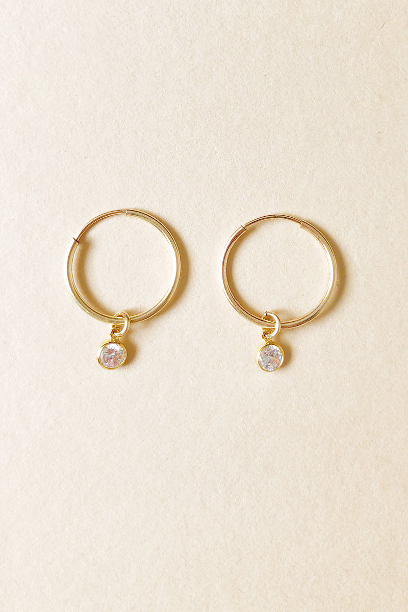 Paige Solitaire Charm Hoops
