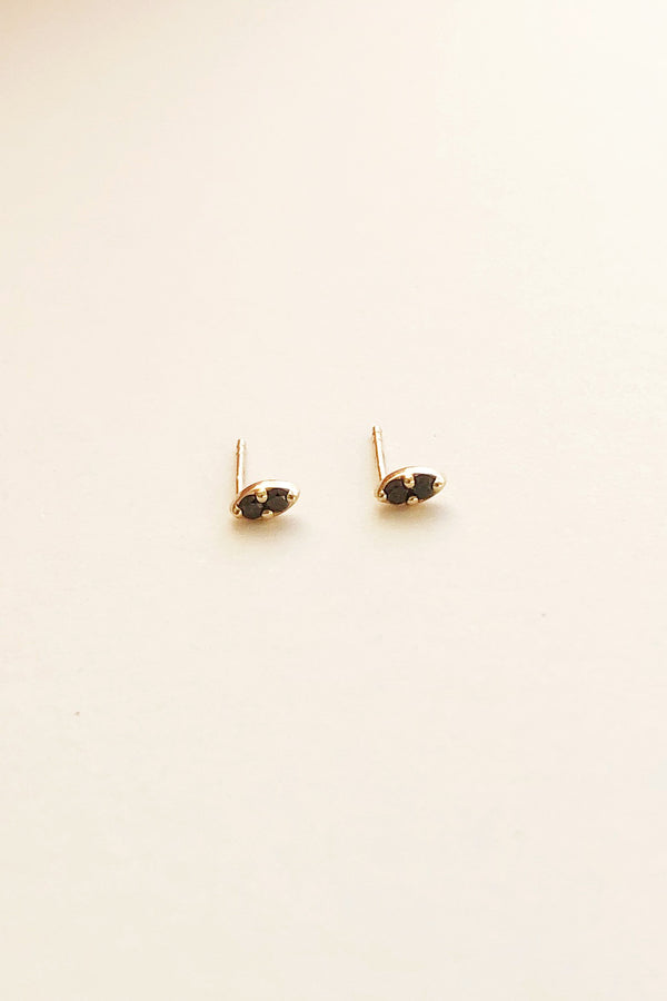Pavilion Studs in 14k Gold + Black Diamonds