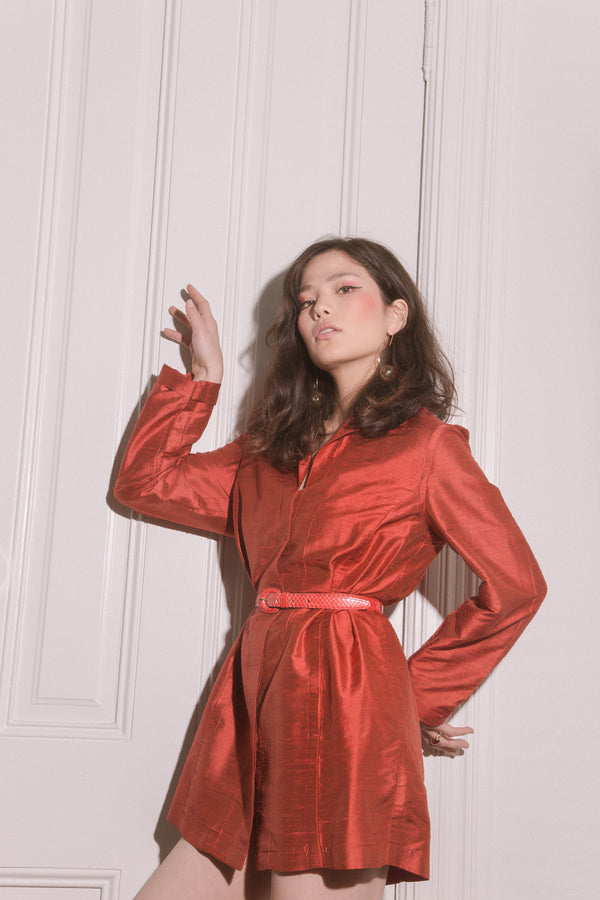 90'S Red Raw Silk Jacket Dress