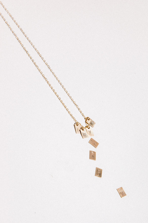Square Alphabet Charm Necklace
