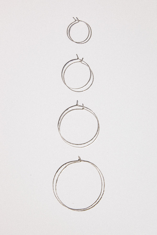 Hammered Hoop Earrings in Sterling Silver