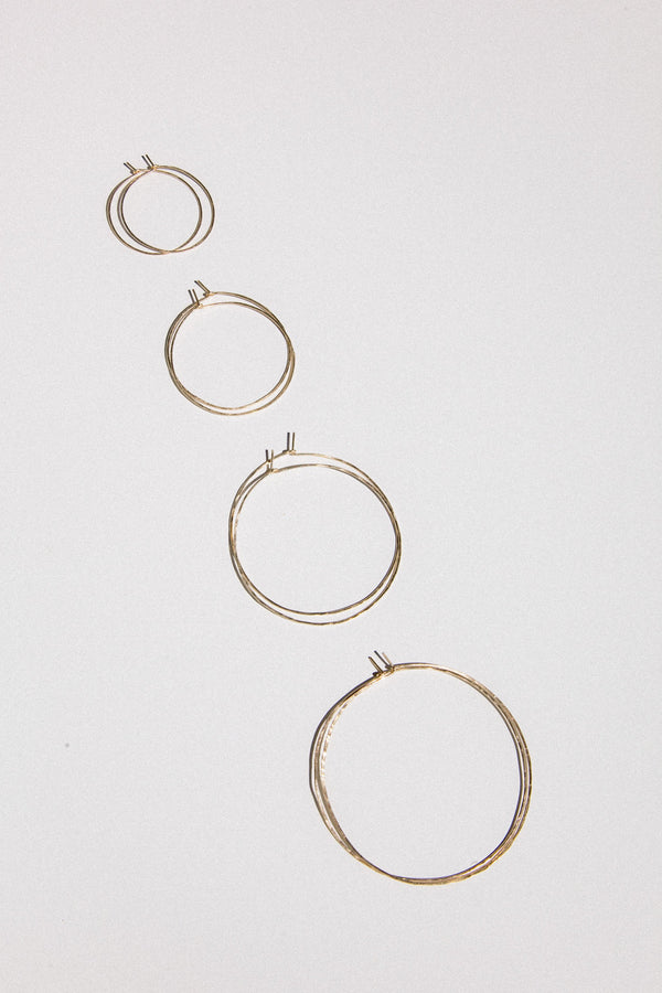 Gold Hammered Hoop Earrings in all 4 sizes.