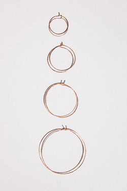 Hammered Hoop Earrings in Rose Gold